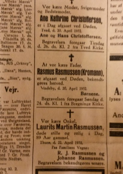 Dødsannoncen efter Rasmus Rasmussen Kromand