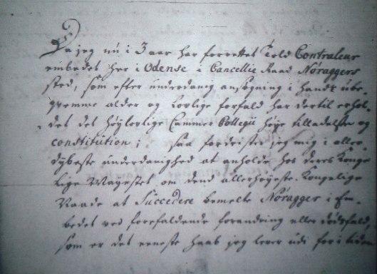 Adrian Bekker søger embedet som Herredsfoged over Sunds og Gudme Herreder ved Svendborg.