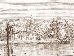 Vindeby Kro i 1810 set fra Svendborg