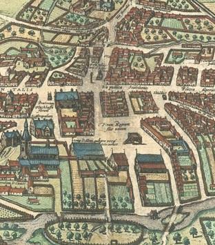 Odense Centrum med Vestergade på kort fra 1593.