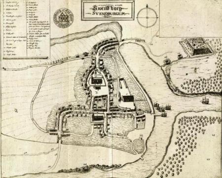 Kort over Svendborg i 1600-tallet