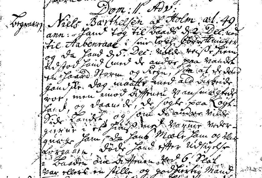 Præsten beskrivelse af, hvordan Niels Bärthelsen døde af overanstrengelse på Flensborg Fjord