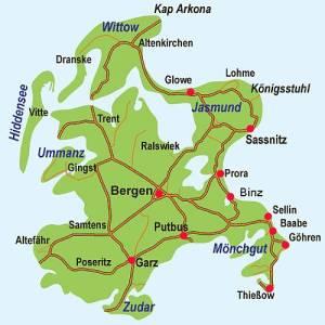 Kort over Tysklands største ø Rügen