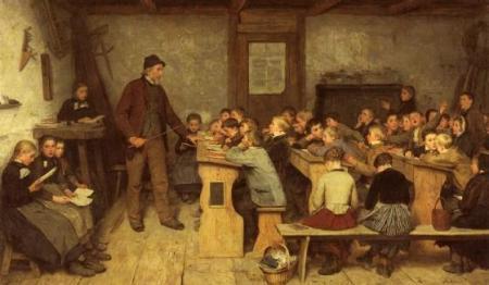Maleri af en landsbyskole