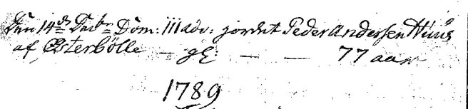 Peder Andersen Huus begraves i 1788