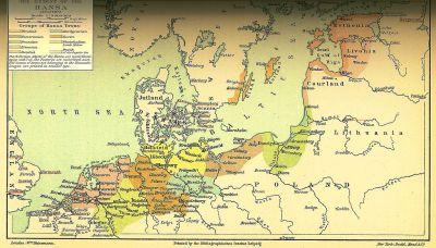Hanseforbundets udbredelse omkring 1400.