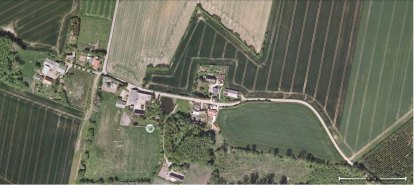 Luftbølle, hvor familien Haar marker idag er en enkelt mark på den nuværende gård.
