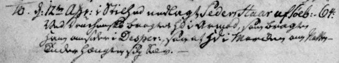 """""""I stilhed nedlagt Peder Haar i Søby. Ved Drukenskab bragtes han i Armod, som bragte ham omsider i Desparation, at han - hængte sig selv""""."""