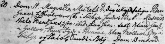 """""""Rasmus Pedersen, søn af Margrethe Michelsdatter, den ulyksagelige Peder Haars efterleverske i Søby."""""""