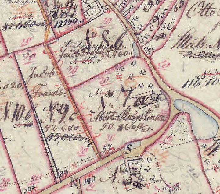 Jacob Frandens jorder på Matrikelkortet fra 1811. Han var gårdmand på matrikel 8 og 9. Gården lå på matrikel 9.