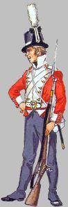 En musketer ved 2. jyske Infanteri Regiment omkring 1810.