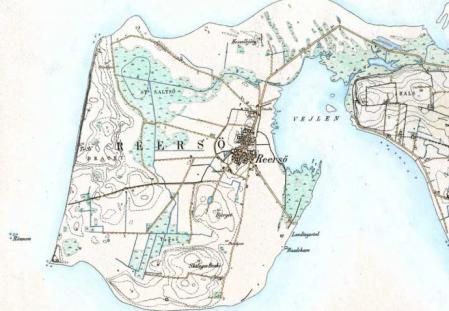 Halvøen Reersø, der tidligere var en ø.