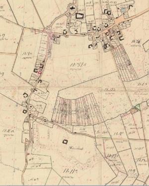 Gården Holmelund i Gislev ses nederst på kortet.