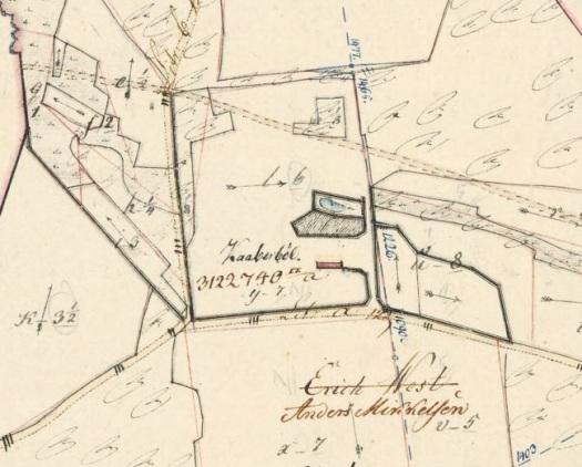 Kaaberbøl - eller Kobberbøl, som gården hedder i går på kort fra 1820, hvor Erik West er streget over som ejer.